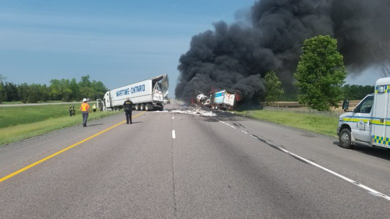Truck fire closes 401 between Deseronto Road and Highway 49
